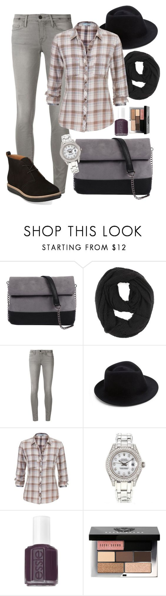 """""""Untitled #231"""" by averydane ❤ liked on Polyvore featuring 7 Chi, Paula Bianco, Frame Denim, Eugenia Kim, maurices, Rolex, Essie, Bobbi Brown Cosmetics and Clarks"""