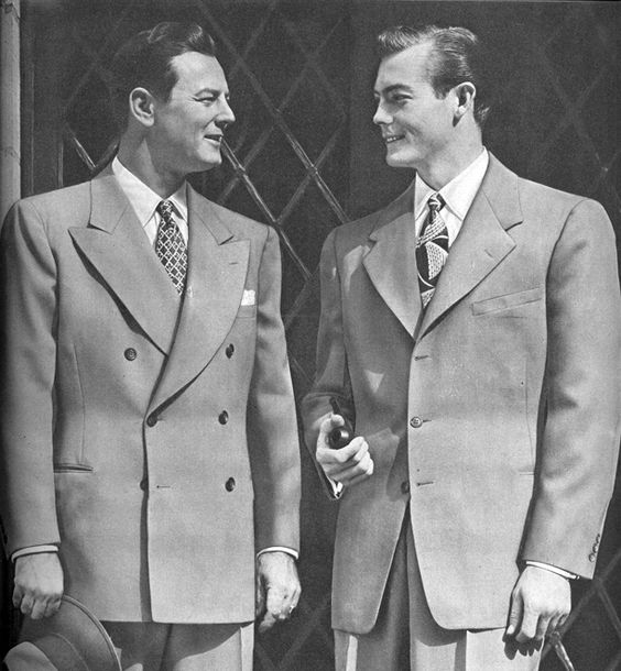 Men in the 1940's wore suits a lot more often as men do currently. One very popular style of wearing suits in the 1940's around the world was showing off the undershirt. The jacket sleeve had to slightly show the wrist portion of the buttoned up dress shirt worn underneath the jacket. Very popular worldwide! The collar of the jacket tended to be wider and larger as they are today.