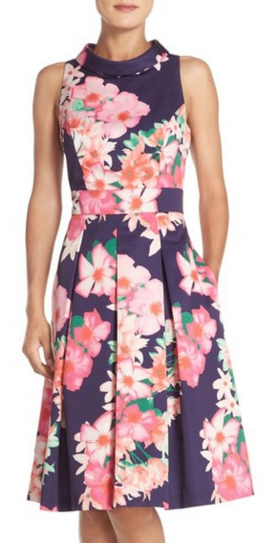 Faille Fit and Flare Dress in Navy and Pink Floral