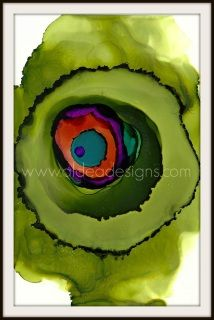 """Green Blob"" - 6"" x 9"" Handpainted Alcohol Ink on Yupo Paper.  Green, teal, magenta, red and purple.   Frame and mat not included. Last picture shows an example of what it would look like framed.  Watermark is on digital images only."
