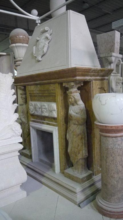 Fireplace in marble - http://www.achillegrassi.com/en/project/camino-con-cappa-in-marmo-giallo-reale-e-inserti-e-cornici-in-marmo-bianco-carrara/ - Fireplace with a hood in marble Giallo Reale with a frame and ornaments in white marble Carrara Dimensions:  Fireplace 210cm x 197cm(H) x 95cm Hood 163cm x 100cm(H) x 77cm