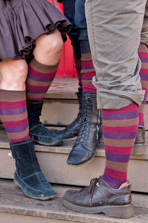 Socks by Sock Dreams » .Socks » Knee Highs » Berry Cobbler Stripes