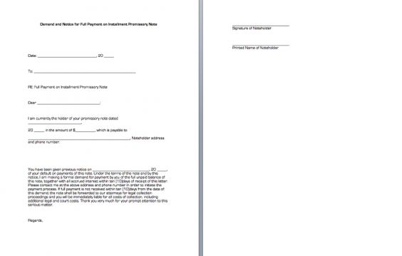 Demand and Notice for Full Payment on Installment Promissory Note - legal promissory note sample