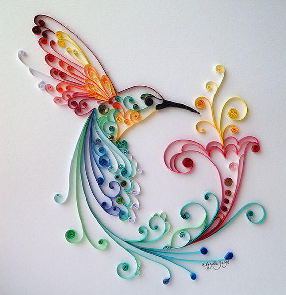Quilling art l 39 oiseau du bonheur art de papier color for Deco quilling