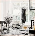 Black and white table decorations...