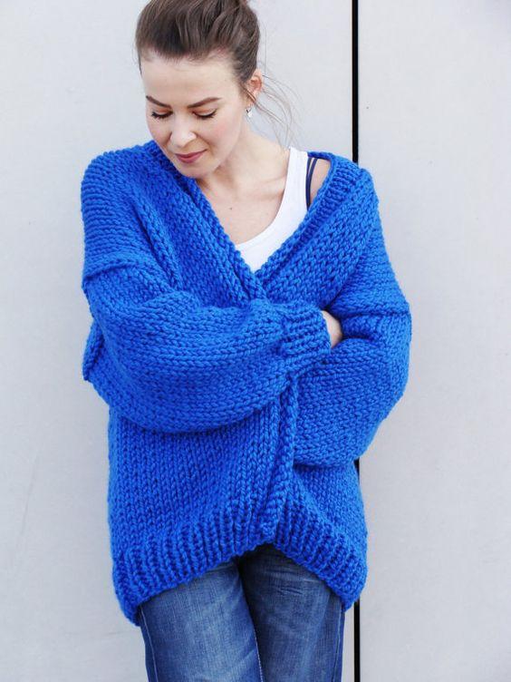 Pure Chunky Cardigan Electric Blue handmade by Nudakillers