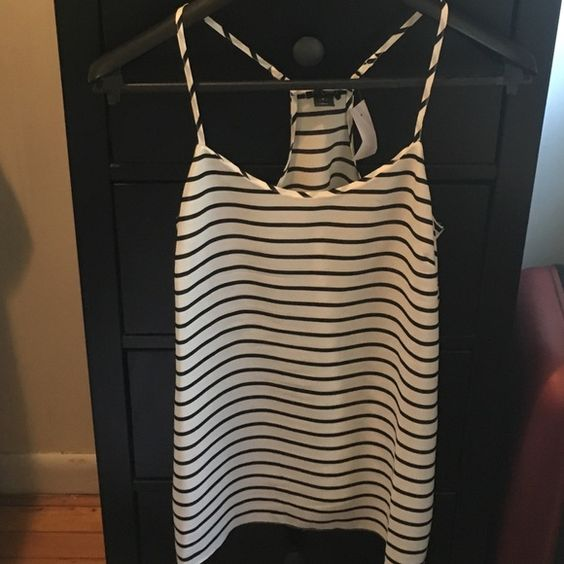 J. Crew factory tank with adjustable straps New with tags, never worn, black and white stripped camisole/tank J.Crew Factory Tops Tank Tops