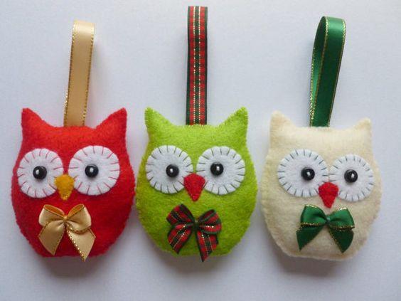 Christmas Tree Decorations  Set of 3 Felt Owls  by SewJuneJones, £10.50