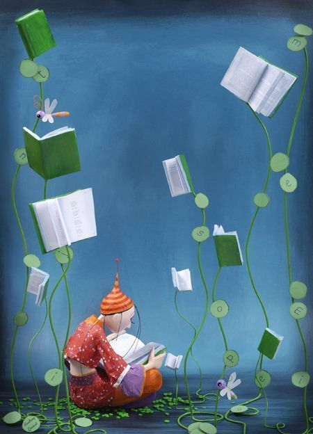 Reader, reading, books / illustration by Audrey Gessat: