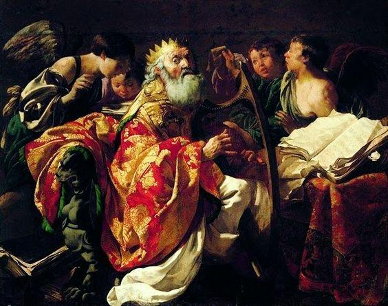 Hendrick ter Brugghen: King David Playing The Harp By Hendrick Ter Brugghen: