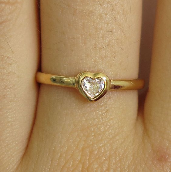 gold filled ring clear ring heart ring dainty ring by sohocraft
