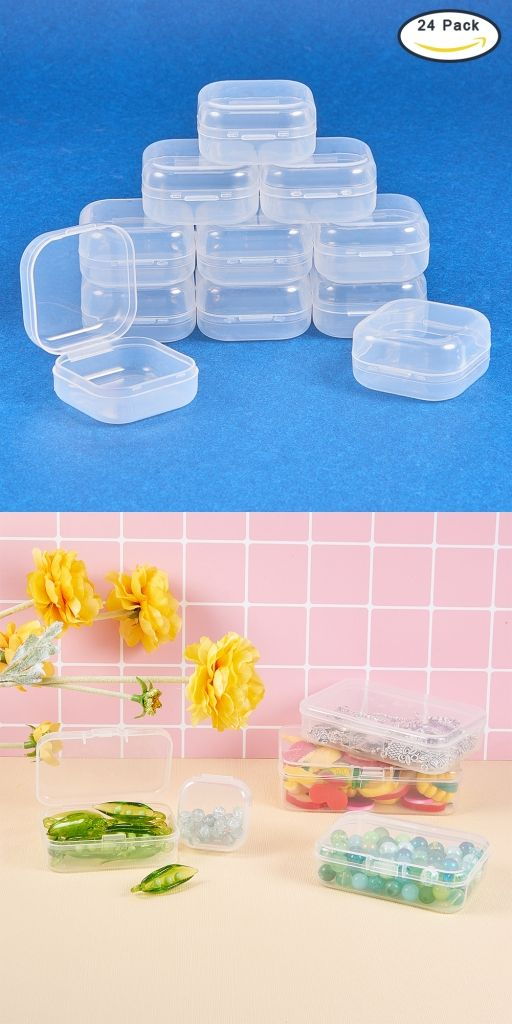 Benecreat 24 Pack Square Mini Clear Plastic Bead Storage Containers Box Case With Lid For Items Earplugs Pills Tiny Findings 1 38x1 38x0 7 Inches Beebeecr Bead Storage Storage Containers Plastic Beads