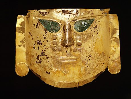 Ceremonial mask  Peru: north coast, Lambayeque region, La Leche Valley, Batán Grande, Sicán culture  Middle Sicán period, A.D. 900–1100
