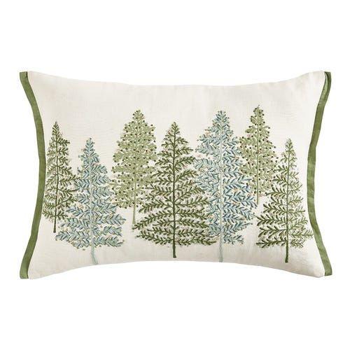 Beaded Green Trees Lumbar Pillow Pillows Holiday Pillows Green Bead