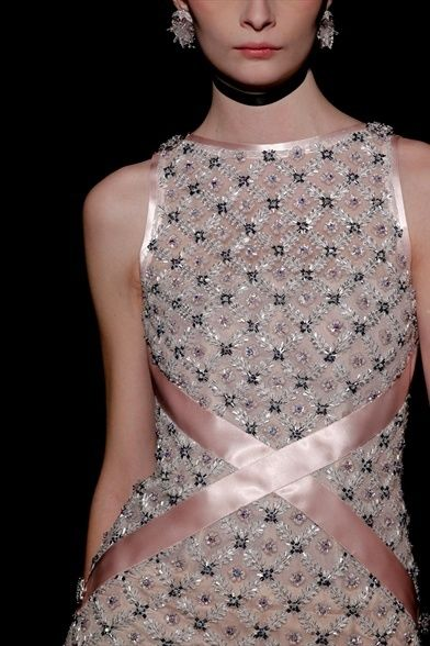 Chanel beading by Maison Lesage. the size of each square varies depending on where it sits on the body.