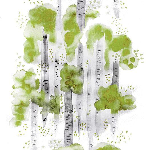Design: BJÖRKAR (green)  Designer: Louise Videlyck (Sweden) Manufacturer: Arvidssons Textil Composition: 100% Cotton Width: 140 cm Repeat: 260 cm