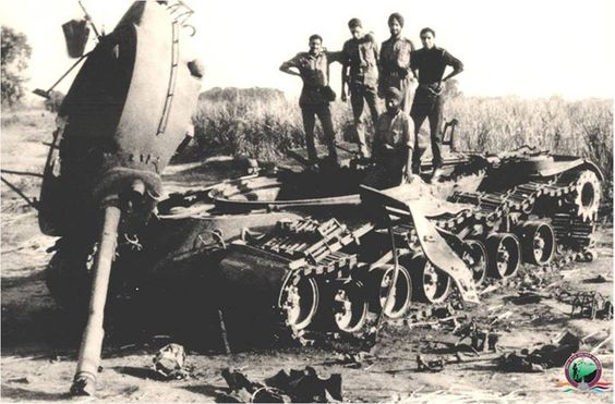Officers and Jawans of 4 Horse standing on a destroyed Pakistani tank during Indo-Pak War #GJC1965