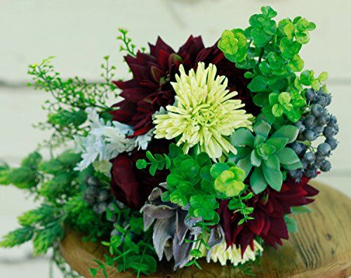 Silk Succulent Wedding Burgundy Bouquet Autumn Winter Wedding Bouquet - Succulent, Dahlia, Ranunculus with Green/Sage accents - Silk Bouquet. Bohemian and woodland inspired bouquet that is suitable for any season, but especially autumn and winter. Rich in deep colors, slightly cascading, this bouquet includes: Green succulents Plum burgundy dahlias Plum purple ranunculus Sage leafery Burgundy sage blossom Green eucalyptus Blue berry spray Pastel green spider flower Fern drapery Available...