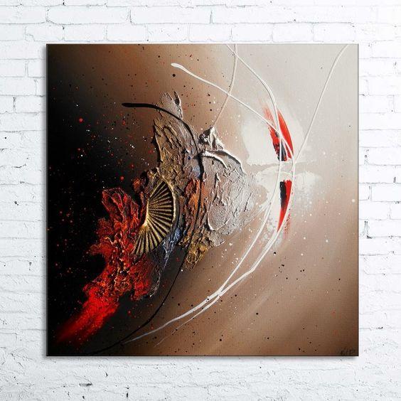Peinture rescha tableau abstrait contemporain toile acrylique en - Peinture taupe et blanc ...