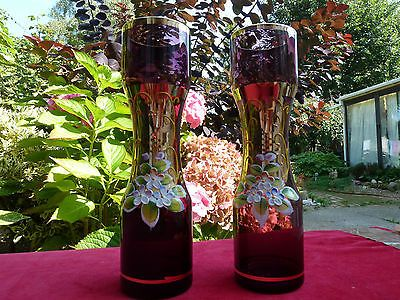 A pair of very pretty  murano #purple cranberry #glass vases with applied #flower,  View more on the LINK: 	http://www.zeppy.io/product/gb/2/141891369922/
