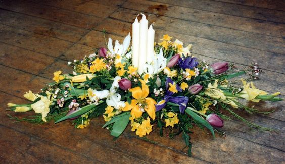 Table decoration with candles at Wild at heart florist,Ayr,