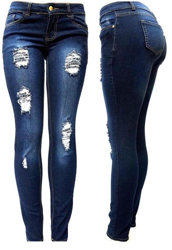 JK41 Juniors WOMENS DARK BLUE Denim JEANS Destroy Skinny Ripped