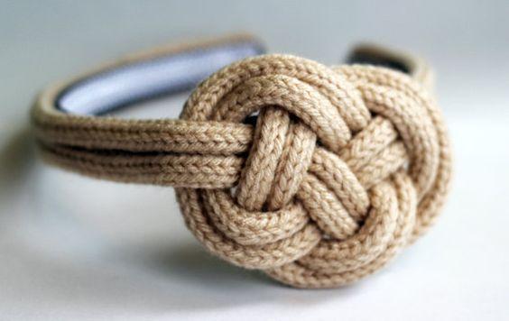 Knit Nautical Knot Headband - Beige. $20.00, via Etsy.
