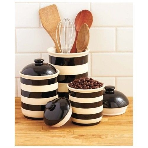 Black And White Striped Canisters