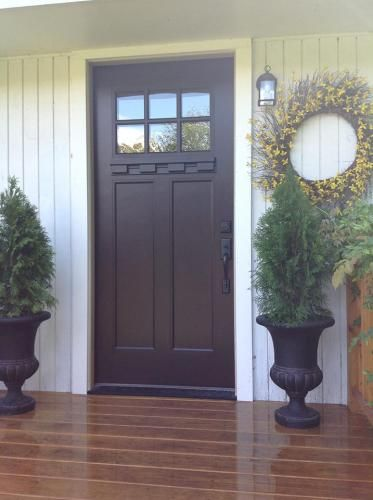 Feather River Doors 37 5 In X In 6 Lite Craftsman Stained Chestnut Mahogany Fiberglass