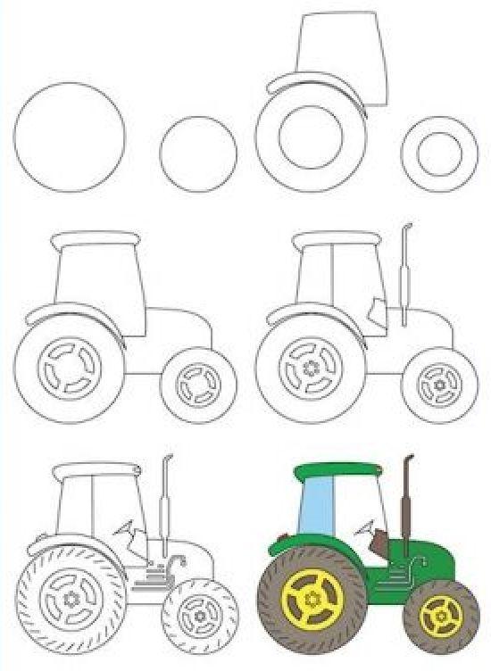 Uchimsya Risovat Traktor Art Drawings For Kids Tractor Art Learn To Draw