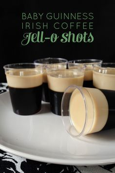 Irish Coffee Jello Shots.  They look like small servings of Guiness beer, but they're not.  The bottom layer is coffee, gelatin, and Irish Whiskey.  The top layer is gelatin and Irish Cream.  Recipe from Feast + West.