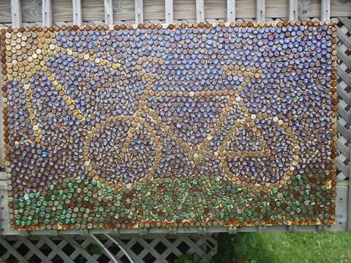 Beer cap bicycle mosaic