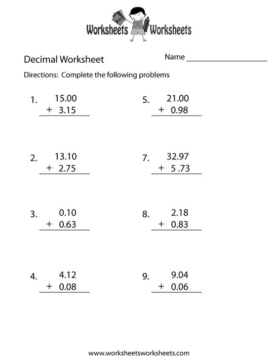 Addition addition worksheets with decimals : Pinterest • The world's catalog of ideas