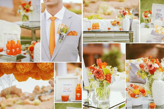 Decoración de boda en tangerine