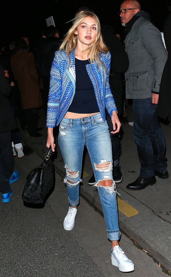 Gigi Hadid opts for ripped Denim while out in Paris! Love this whole look!: