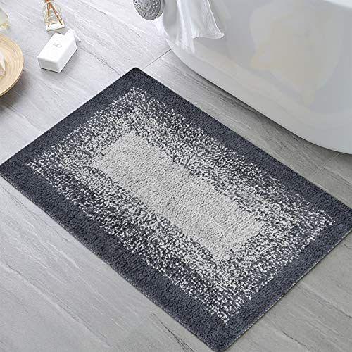 Bath Rug Ombre Gray Bath Mat Non Slip Microfiber Area Rug 20 31