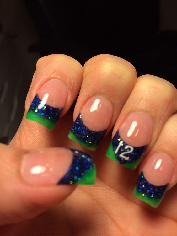 Seahawks nails by Krizma Nails