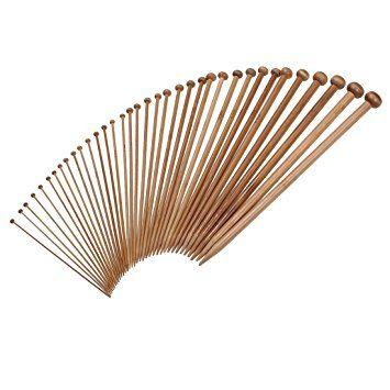 36pcs 18 Size Carbonize Bamboo Single Pointed Knitting Needles Set