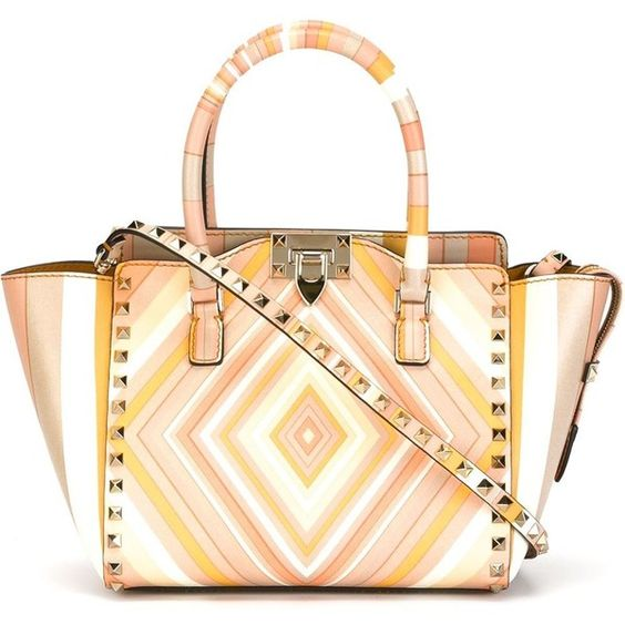 Valentino Garavani Rockstud Bag (58,225 HNL) ❤ liked on Polyvore featuring bags, handbags, multicolor, colorful handbags, white handbags, zip top tote, tote bags and zip top tote bag