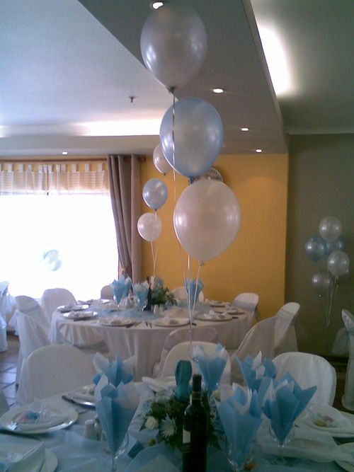 Baptism centerpieces ideas for boys christening for Balloon decoration ideas for christening