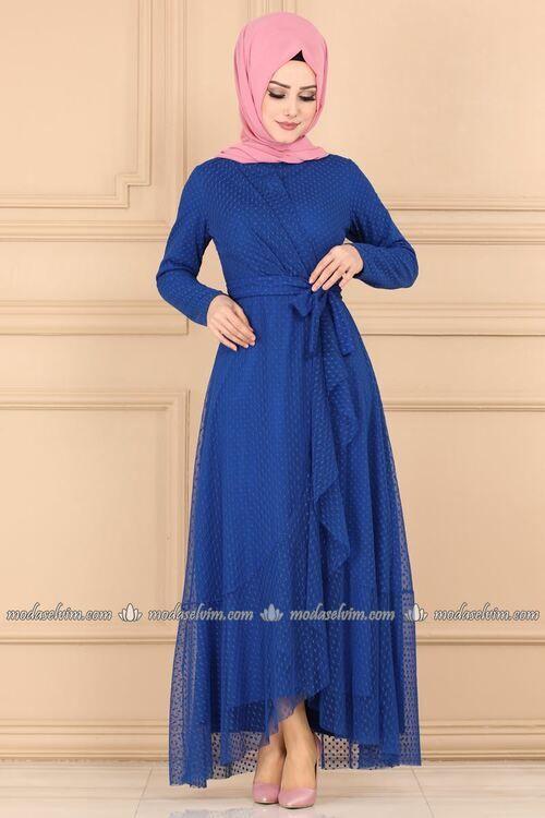 Modaselvim Elbise Firfir Detayli Puantiyeli Elbise 5014ef311 Saks Moda Stilleri Abaya Tarzi Elbise