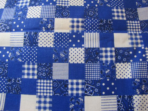 Vintage Blue Calico Patchwork Fabric, 60s, 70s  Fabric, Patchwork Fabric, Big Piece of Fabric: