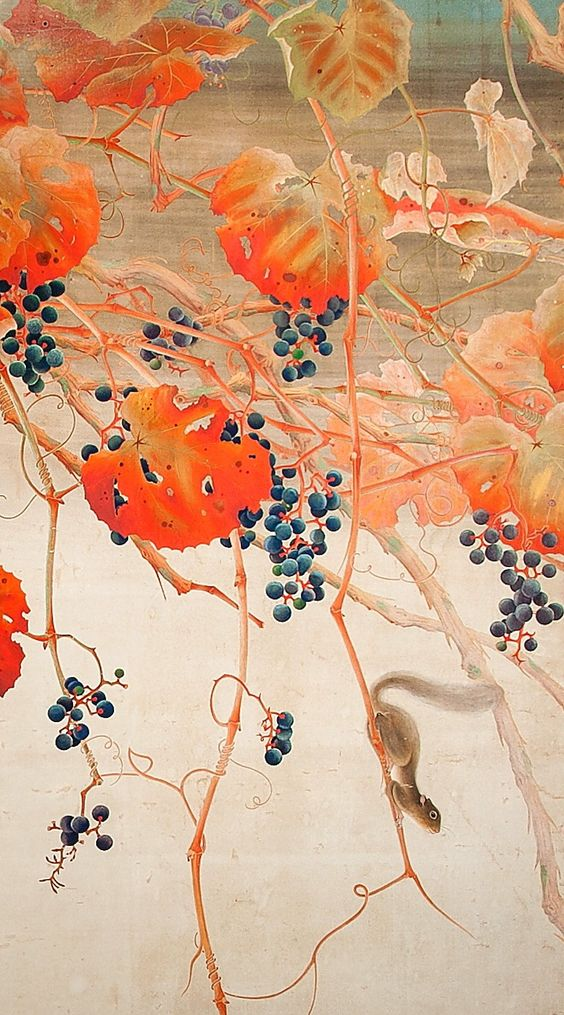 Detail. Japanese Two-Panel Screen, Autumnal Screen of Grape Arbor with Squirrel. Circa 1880.