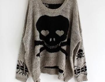 Grey Long Sleeve Skull Print Pullov..@Cristina Regelin this reminds me of you :)
