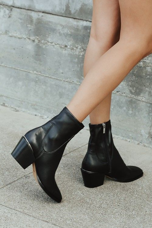 Details about  /Womens Leather Ankle Boots Pointed Toe Wedge Heels Zip Casual Dress Office Shoes