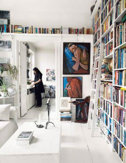 floor to ceiling, corner to corner bookcase.