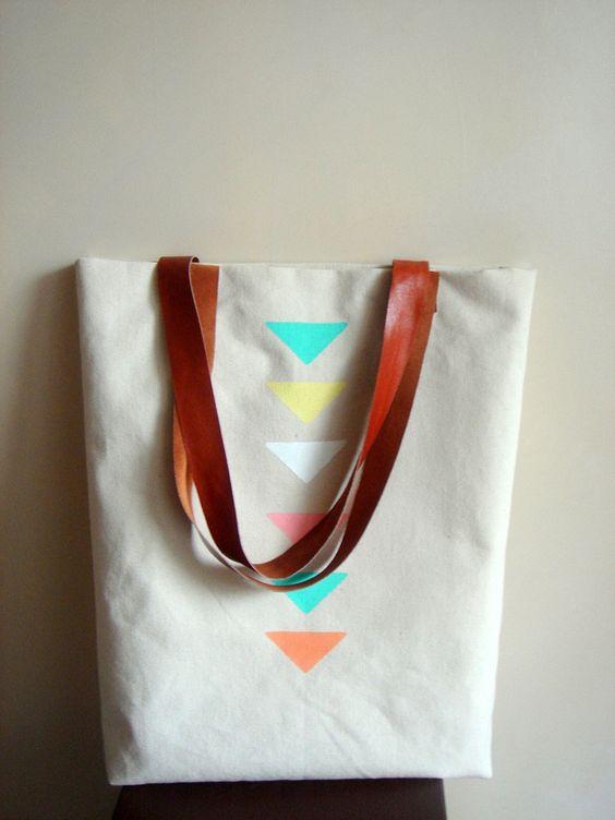 Geometric Tote Bag, Canvas and Genuine Caramel  Leather Handles,  Painted Geometric Handbag. $65,00, via Etsy.