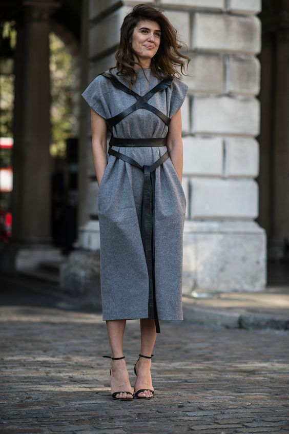 Time to hop on the obi belt trend. Try it out with a draped dress and strappy heels.