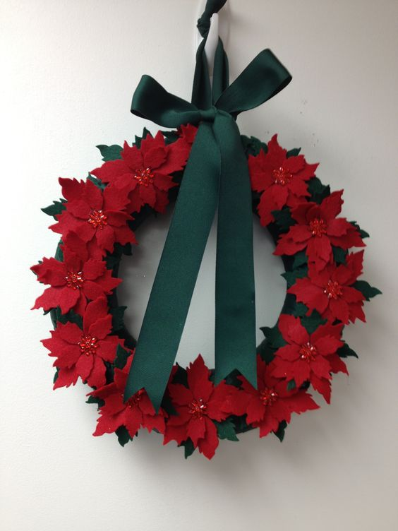 Wreath wreaths poinsettia poinsettias felt red green buttons bows ribbon merry christmas. Holiday holidays ribbon pairofpetals.com