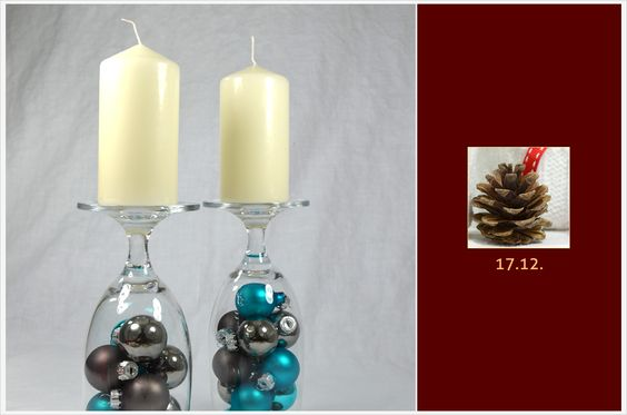 Hallo ihr Lieben! Für das heutige Türchen habe ich ein super-quick-DIY für euch vorbereitet. Diese weihnachtlichen Kerzenständer sind im Handumdrehen fertig und verleihen jedem Tisch eine festliche Eleganz. Also, holt die Kerzen raus, es geht los!  IHR BRAUCHT: kleine Baumkugeln** Stumpenkerzen** Weingläser, Cocktailgläser o.ä.  UND SO GEHT'S: Füllt die Gläser mit Kugeln, dreht sie um und stellt die…